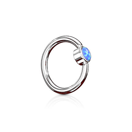 Indigo Blue FLAT Opal Captive Belly Rings in Steel