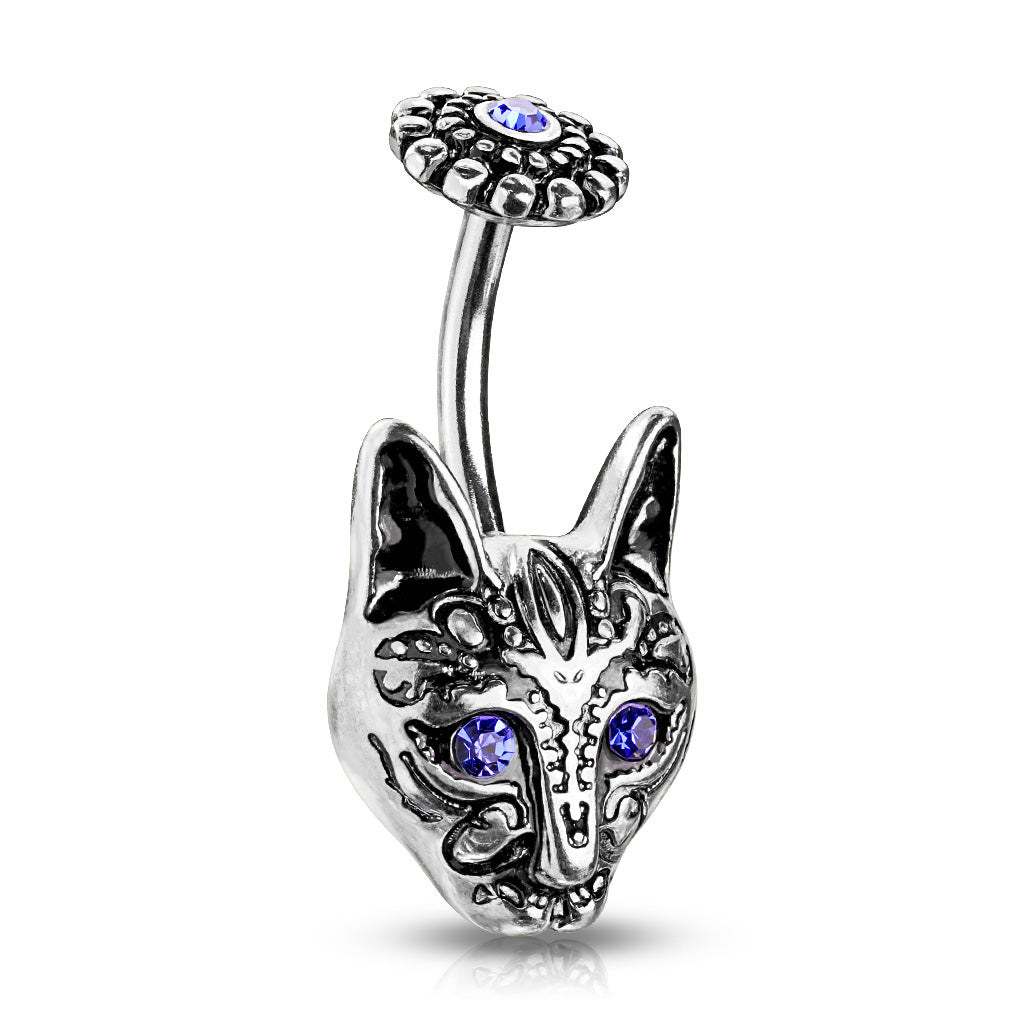 Egypts Bastet Cat Belly Bar - Fixed (non-dangle) Belly Bar. Navel Rings Australia.