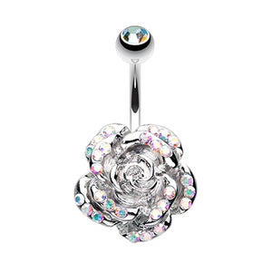 Aurora Zen Rose Belly Button Bar - Fixed (non-dangle) Belly Bar. Navel Rings Australia.
