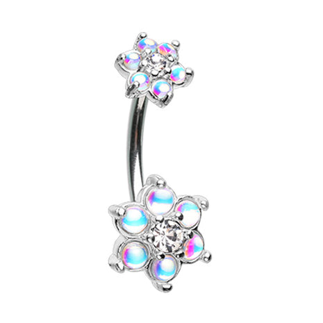 Fixed (non-dangle) Belly Bar. Navel Rings Australia. Retro Flower Burst Belly Bar