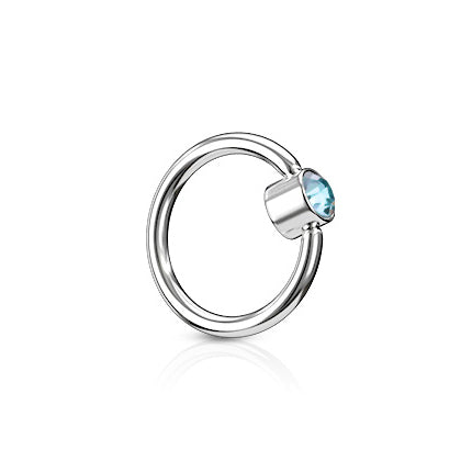 Aquamarine FLAT Gem Captive Belly Rings in Steel