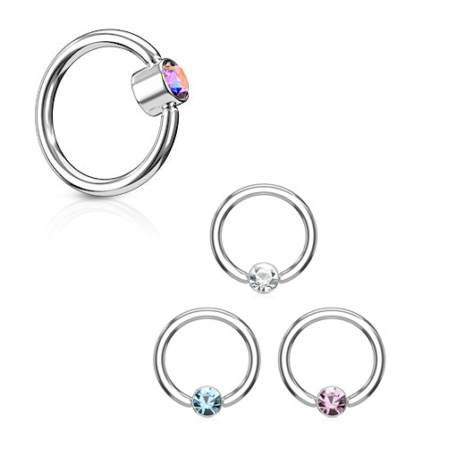 FLAT Gem Captive Belly Rings in Steel - Captive Belly Ring. Navel Rings Australia.