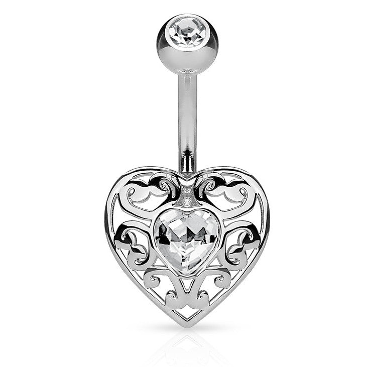 Bella Love Belly Bar - Fixed (non-dangle) Belly Bar. Navel Rings Australia.