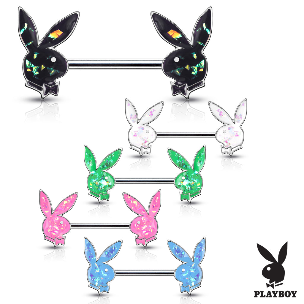 Opal Gleam Playboy Bunny Nipple Bar - Nipple Ring. Navel Rings Australia.
