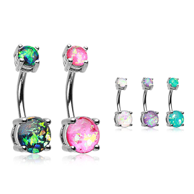 Classic Prong Opal Gleam Belly Bars - Basic Curved Barbell. Navel Rings Australia.