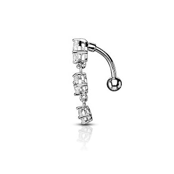 Reverse Top Down Belly Ring. Navel Rings Australia. Classic Gem Drop Reverse Belly Piercing