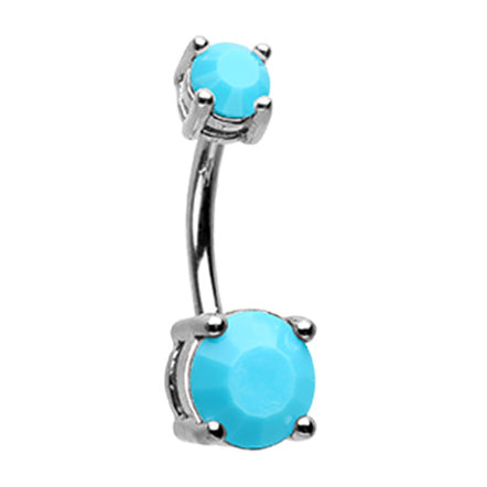 Basic Curved Barbell. Belly Rings Australia. Pronged Turquoise Splendour Bar