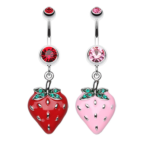 Red Strawberry Dangle Charm Red Barbell Navel Belly Ring Body Piercing Jewelry