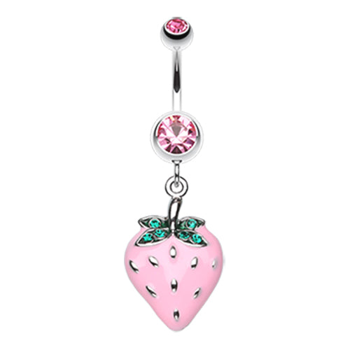 Dangling Belly Ring. Navel Rings Australia. Strawberry Fruity Belly Button Ring