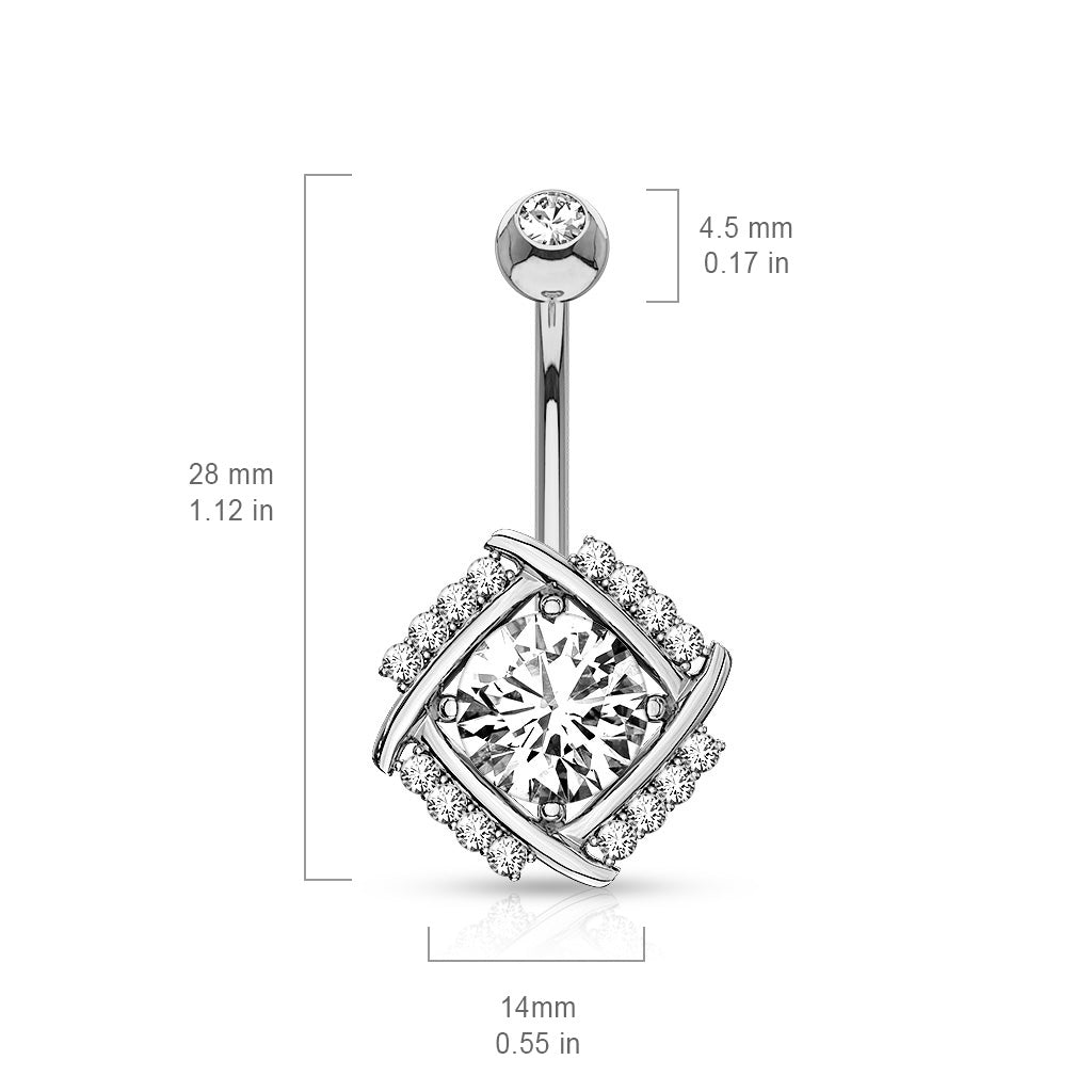 Fixed (non-dangle) Belly Bar. Quality Belly Bars. 14K White Gold Paved Windmill Navel Bar