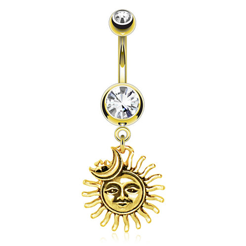 Sun Chaser Belly Ring in Gold - Dangling Belly Ring. Navel Rings Australia.