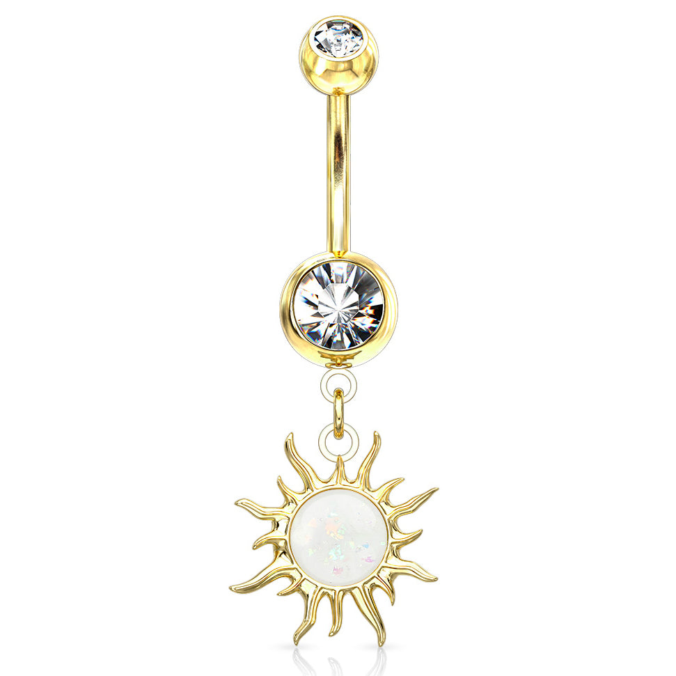 Flaming Opal Sunburst Belly Dangle in Gold - Dangling Belly Ring. Navel Rings Australia.