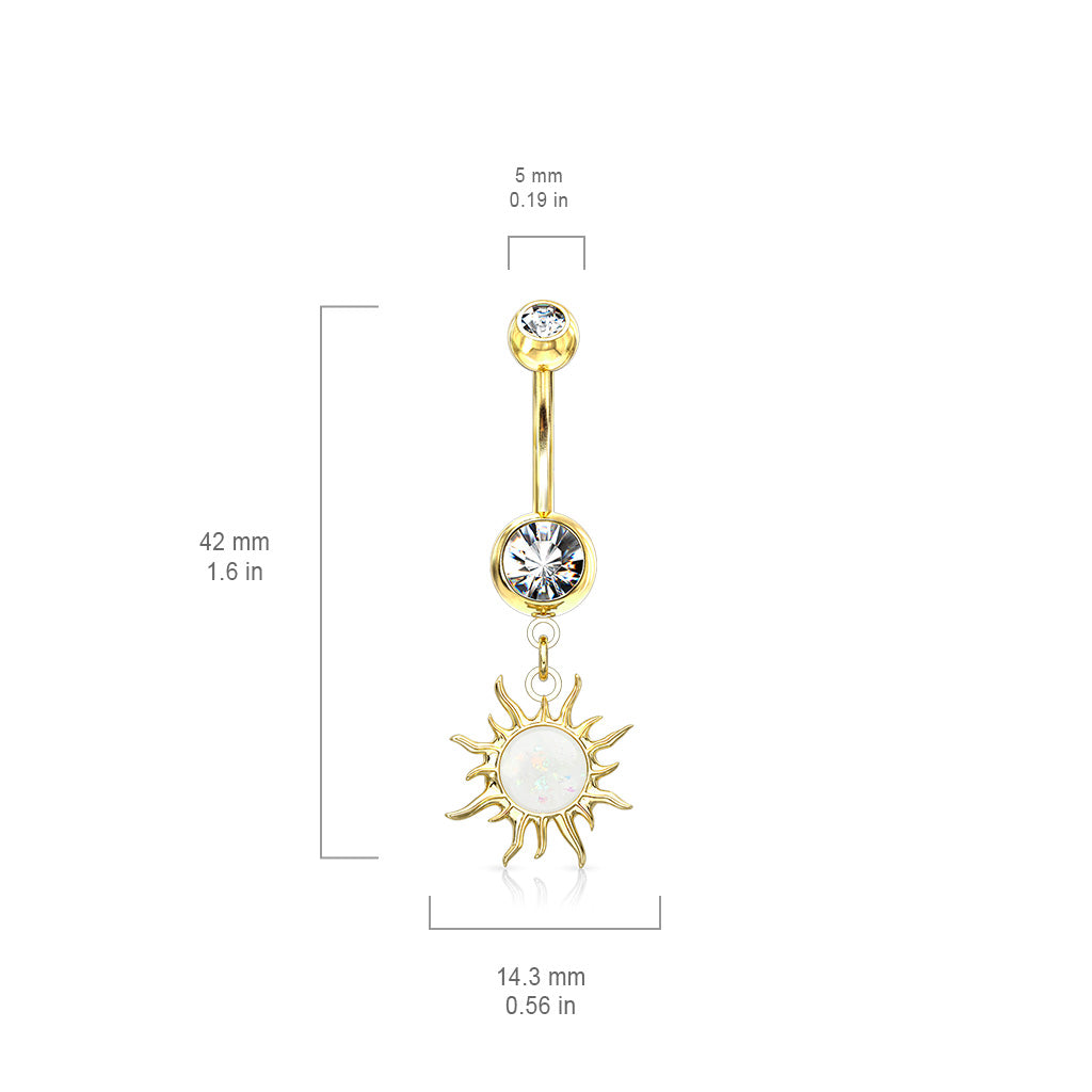 Dangling Belly Ring. Navel Rings Australia. Flaming Opal Sunburst Belly Dangle in Rose Gold