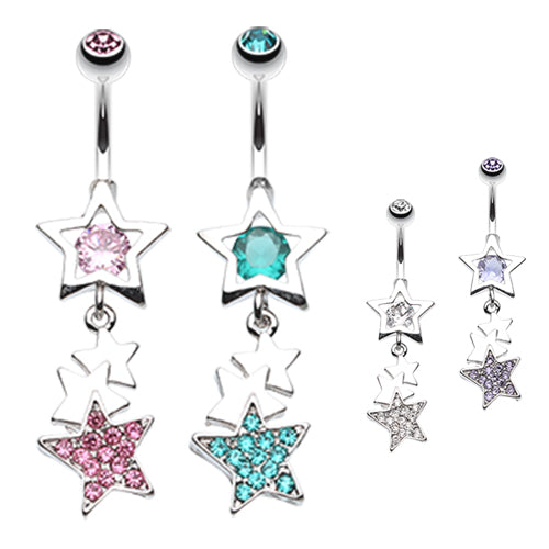 The Super Star Belly Button Ring - Dangling Belly Ring. Navel Rings Australia.