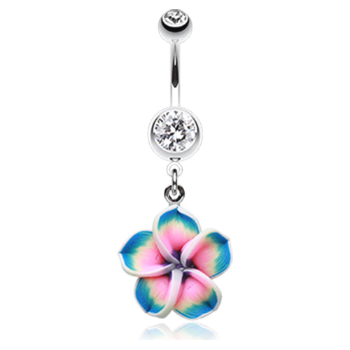Classic Frangipani Belly Bar - Dangling Belly Ring. Navel Rings Australia.