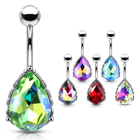 Fixed (non-dangle) Belly Bar. Navel Rings Australia. La Femme Teardrops Belly Bar