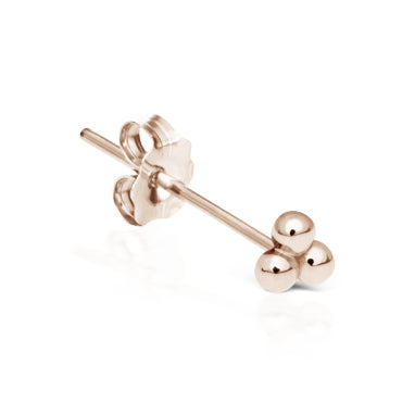 Earring. Quality Belly Bars. Ball Trinity Earring by Maria Tash in 14K Rose Gold. Butterfly Stud.