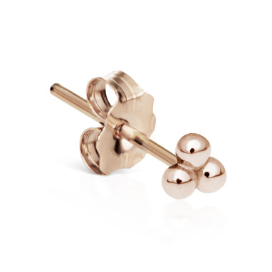 Ball Trinity Earring by Maria Tash in 14K Rose Gold. Butterfly Stud. - Earring. Navel Rings Australia.