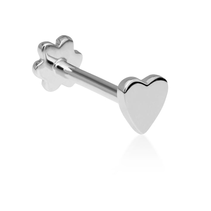 Threaded Heart Earring by Maria Tash in 14K White Gold. Flat Stud. - Earring. Navel Rings Australia.