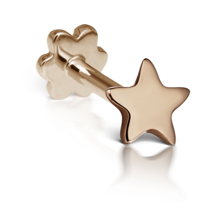 Threaded Star Earring by Maria Tash in 14K Rose Gold. Flat Stud. - Earring. Navel Rings Australia.