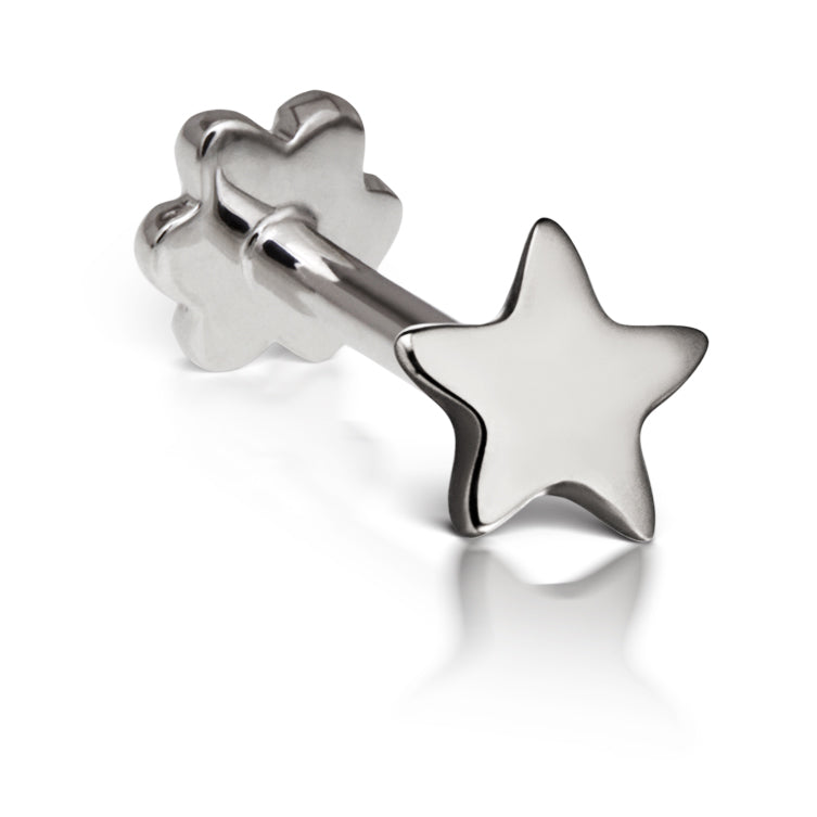 Threaded Star Earring by Maria Tash in 14K White Gold. Flat Stud. - Earring. Navel Rings Australia.