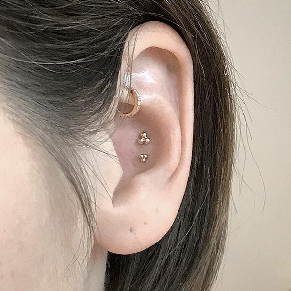 Ball Trinity Earring by Maria Tash in 14K Rose Gold. Flat Stud. - Earring. Navel Rings Australia.