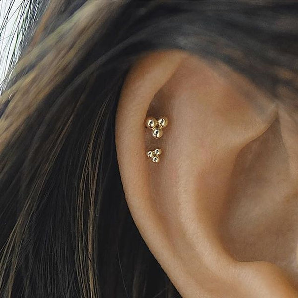 Ball Trinity Earring by Maria Tash in 14K Gold. Flat Stud. - Earring. Navel Rings Australia.