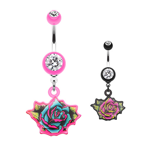 Rose Tattoo Belly Dangle - Dangling Belly Ring. Navel Rings Australia.