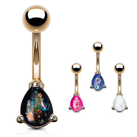 Basic Curved Barbell. Belly Bars Australia. Solitaire Teardrop Opal Belly Rings in Rose Gold