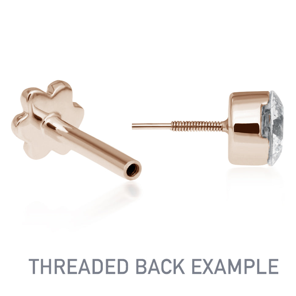 Earring. Quality Belly Rings. Diamond Micropavé Open Circle Earring by Maria Tash in 14K Rose Gold. Threaded Stud.