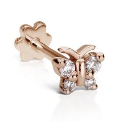 Diamond Butterfly Earring by Maria Tash in 18K Rose Gold. Flat Stud.