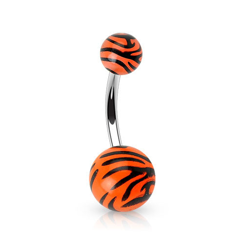 Tiger Print Belly Piercing - Basic Curved Barbell. Navel Rings Australia.