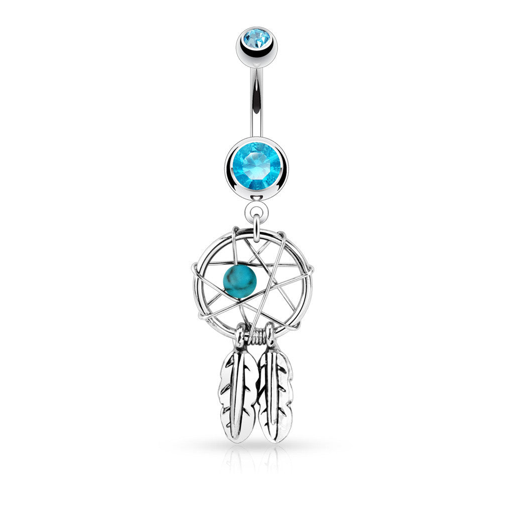 Dangling Belly Ring. Navel Rings Australia. Dreamcatcher Belly Piercing Ring