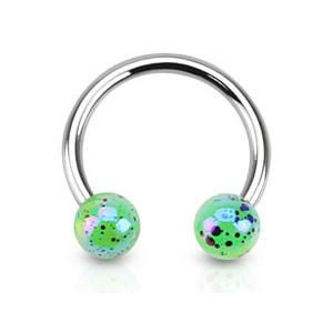 Circular Barbell / Horse Shoe. Quality Belly Bars. 16G Aurora Borealis Acrylic Horseshoe