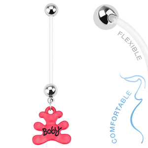 Teddy Bear Pregnancy Belly Piercing Ring - Maternity Belly Ring. Navel Rings Australia.