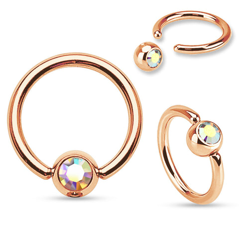 Aurora Borealis Rose Gold Captive Bead Navel Rings