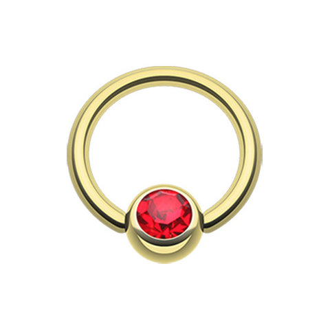 Red Gold Plated Gem Stone Captive Navel Bars