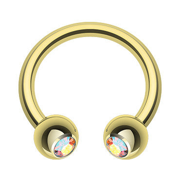Circular Barbell / Horse Shoe. Shop Belly Rings. Classic Golden Gem Circular Barbell