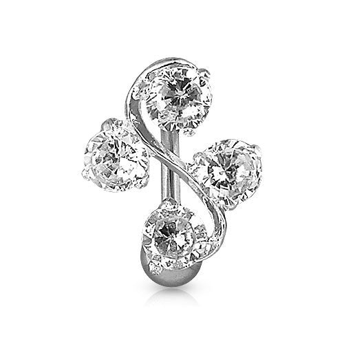 Crystal Vine Reverse Belly Button Bar - Reverse Top Down Belly Ring. Navel Rings Australia.