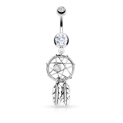 Crystal Dreamcatcher Belly Piercing Ring