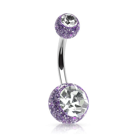 Amethyst Double Gem Glitter Ball Belly Piercing Rings