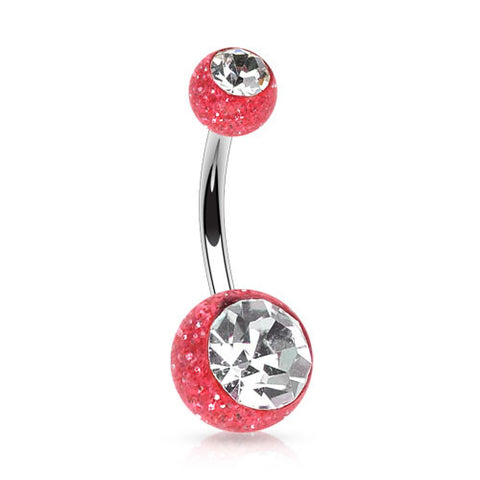 Red Double Gem Glitter Ball Belly Piercing Rings