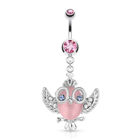 Cute Cats Eye Owl Belly Piercing - Dangling Belly Ring. Navel Rings Australia.