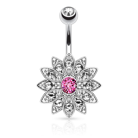 Steel Vintage Antique Flower Burst - Fixed (non-dangle) Belly Bar. Navel Rings Australia.