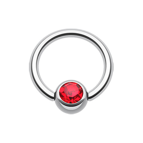 Red Classic Gem Stone Captive Belly Ring
