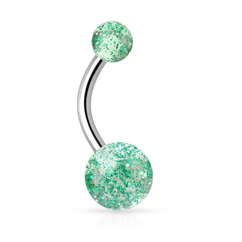 Emerald Glimmer with Glitter Belly Rings