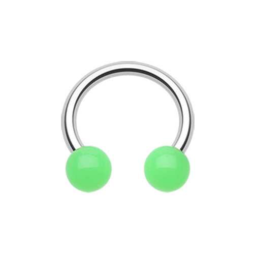 Circular Barbell / Horse Shoe. Belly Rings Australia. Glow in the Dark Acrylic Horseshoe
