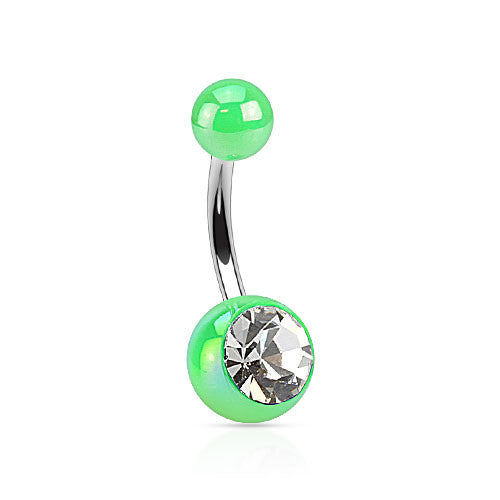 Gem Metallic Coated Acrylic Belly Rings - Basic Curved Barbell. Navel Rings Australia.