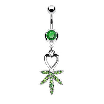 Emerald Green I Heart  Pot Leaf Navel Bar