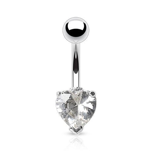Heart Solitaire Belly Rings. Petite and Mega Heart Gems. - Fixed (non-dangle) Belly Bar. Navel Rings Australia.